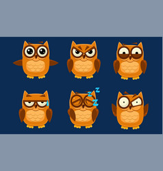 funny owls characters set cute brown birds vector image