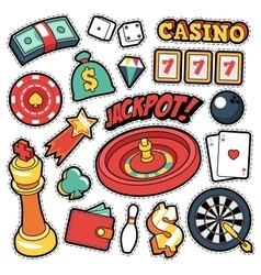 Gambling Casino Badges Patches Stickers vector image