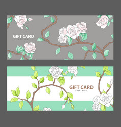Gift card with blooming roses vector