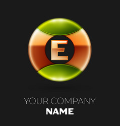 golden letter e logo symbol in golden-green circle vector image