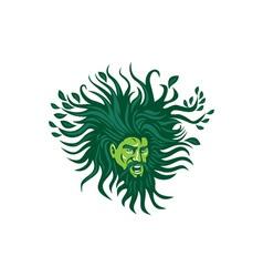 Green Man Head Hair Flowing Leaves Cartoon vector