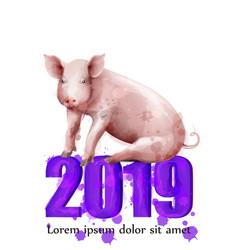 happy new year pig symbol watercolor vector image