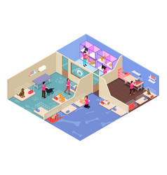 Isometric people volunteering in animal shelter vector