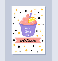 its time to celebrate postcard vector image