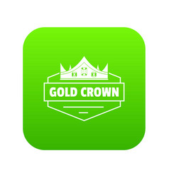 Jewelry crown icon green vector