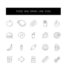line icons set food and drink pack vector image