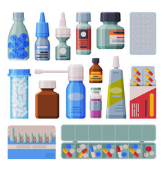 medicine bottles and blister with capsules set vector image