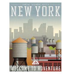 new york travel poster or sticker vector image
