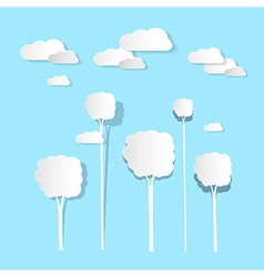 Paper Clouds and Trees on Blue Background vector