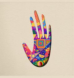 Paper cut human hand art concept vector