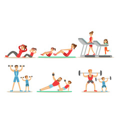 Parents with kids doing sports exercises in gym vector