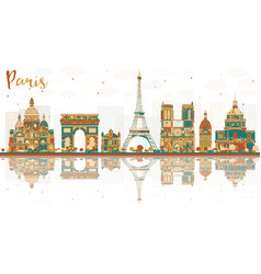 Paris france city skyline with color landmarks vector