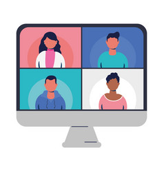 People on websites in video chat at computer vector