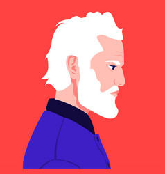 portrait an elderly man with a white beard in vector image