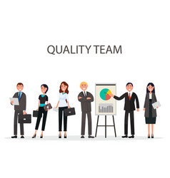 quality team of managers with diagrams on placard vector image