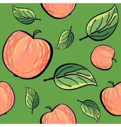 Red apples and apple leaves on green background vector