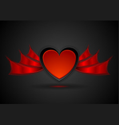red heart with wings abstract love background vector image