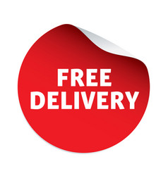 Red sticker and text free delivery vector