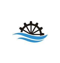 river creek water mill wave cog wheel gear logo vector image