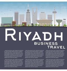 Riyadh skyline with grey buildings and blue sky vector