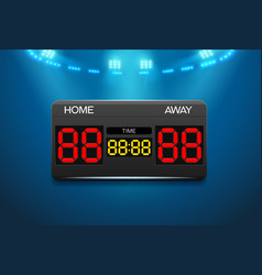 Scoreboard with time and result display vector