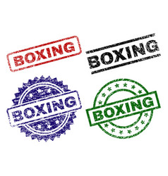 Scratched textured boxing seal stamps vector