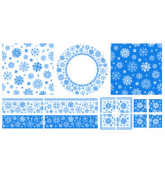 seamless patterns and frames with snowflakes vector image