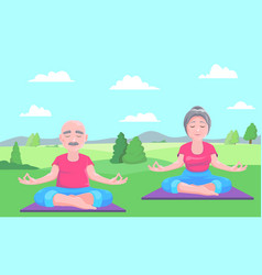 senior man and woman meditates vector image