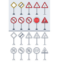 set doodle road signs in colorful and doodle vector image