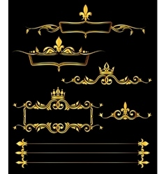 set golden royal frames and borders black vector image