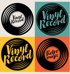 Set music icons in form vinyl records vector