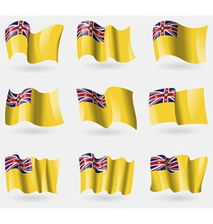 Set of niue flags in the air vector