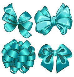 set with cyan bows vector image