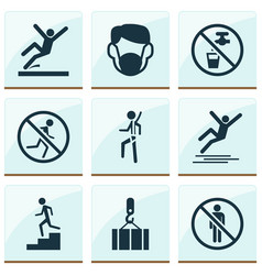 Sign icons set with not running stop staircase vector