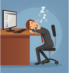 Sleeping happy smiling office worker man vector