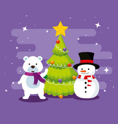 snow bear with pine tree and snowman vector image