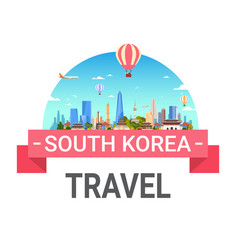 South korea travel poster seoul landscape skyline vector