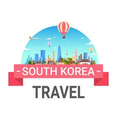 South korea travel poster seoul landscape skyline vector