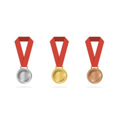 Sports medals with shade on white background vector