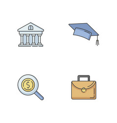 Student loan rgb color icons set vector
