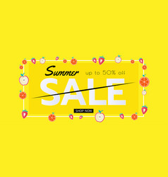 summer sale banner with pieces of fruit seasonal vector image