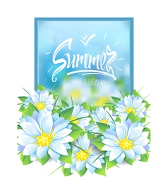 Summer with a bouquet of flowers vector