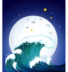 The moon and the waves vector
