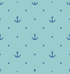 tile sailor pattern with blue anchor and polka dot vector image