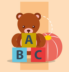 toys bear teddy plastic ball and blocks alphabet vector image