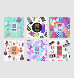Trendy abstract memphis poster templates set vector