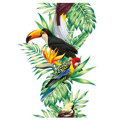 Tropical bird leaves and flowers seamless white vector