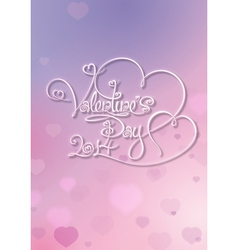 Valentines Card Valentines Day 2014 Purple Pink vector image