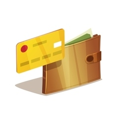 Wallet with money vector