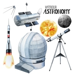 Watercolor astronomy collection vector
